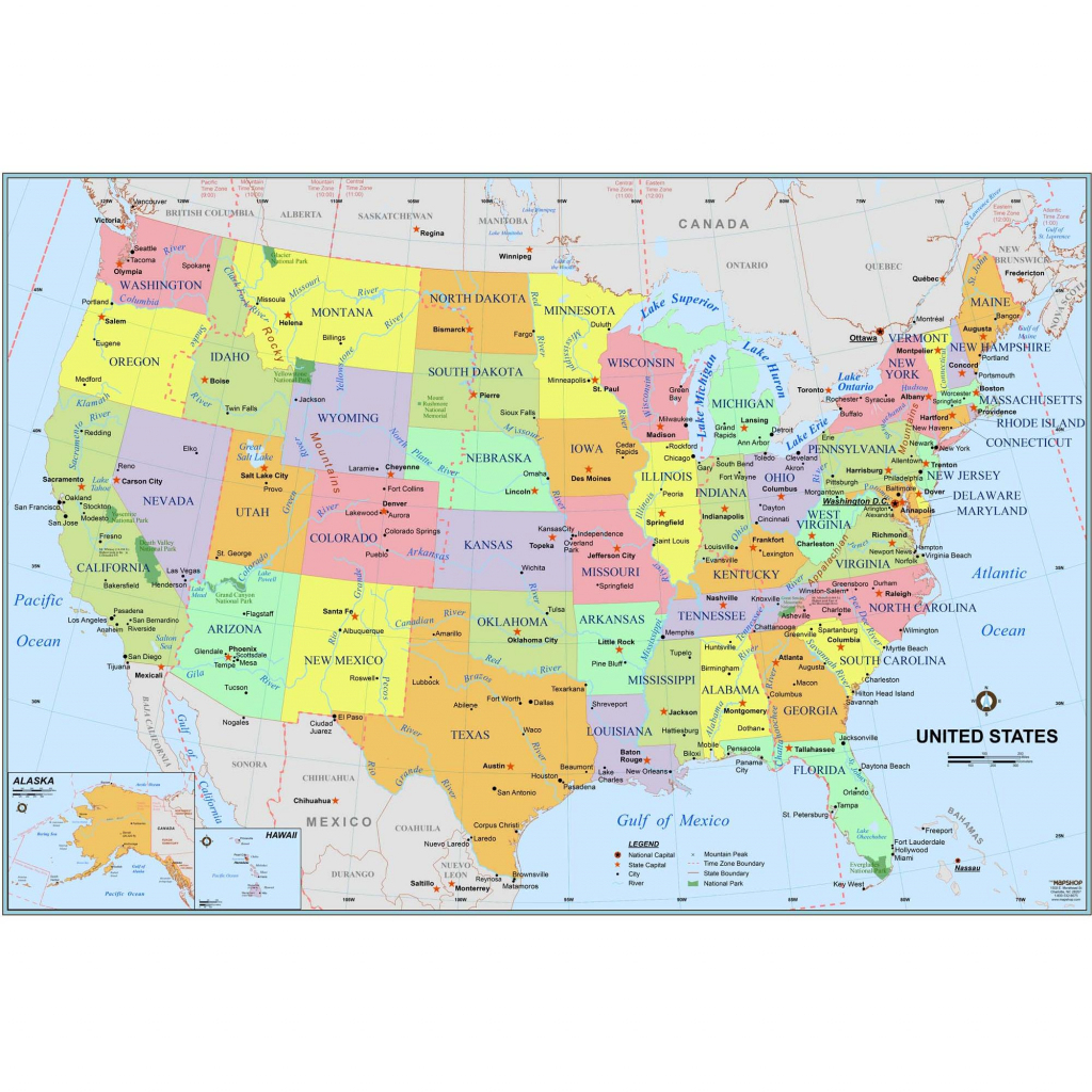 Simple United States Wall Map - The Map Shop inside Printable Maps By Waterproofpaper Com