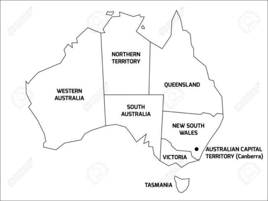 Simplified Map Of Australia Divided Into States And Territories For pertaining to Printable Map Of Australia With States