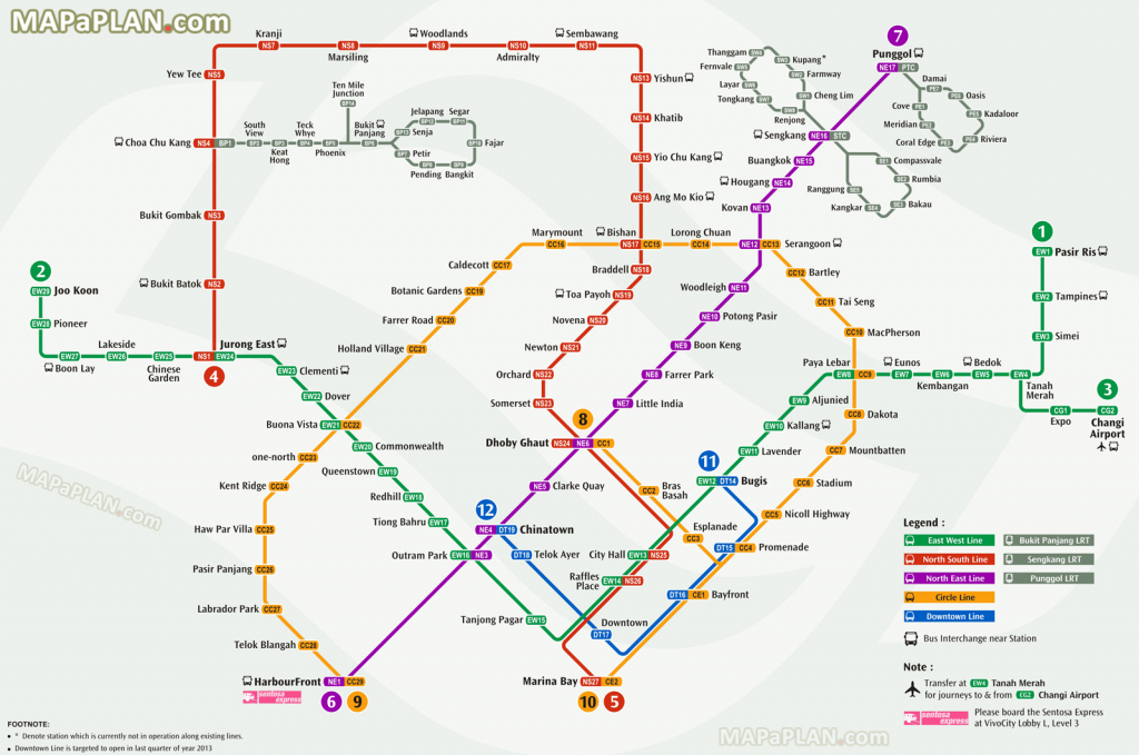 Singapore Maps - Top Tourist Attractions - Free, Printable City in Singapore Mrt Map Printable