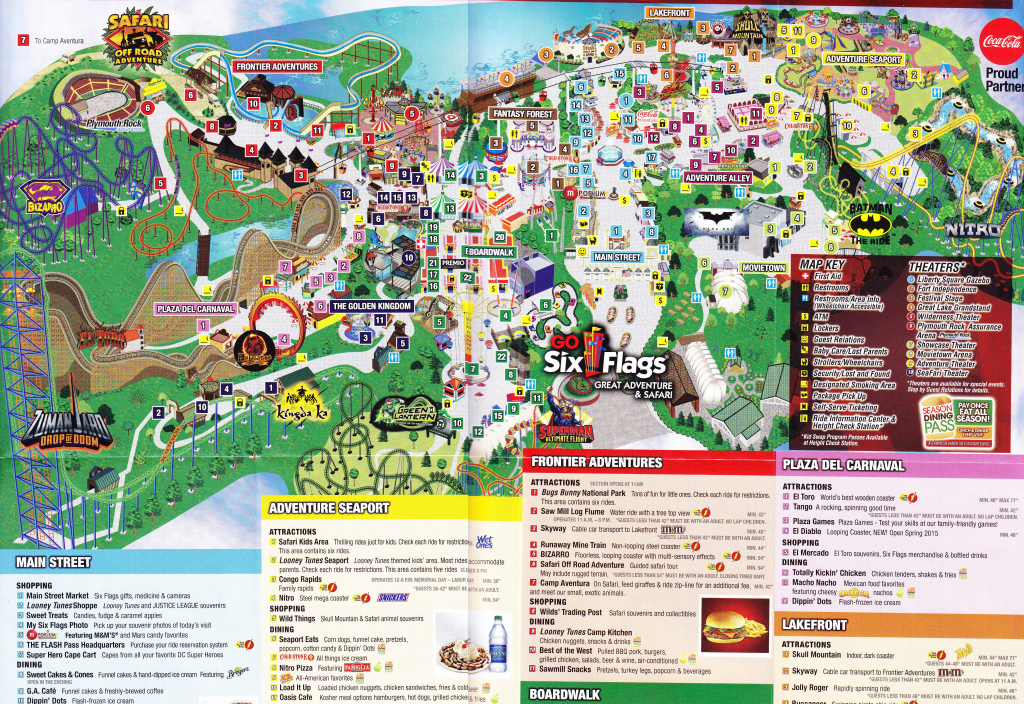 Six Flags Great Adventure 2015 Park Map For Usa America 8 - World with regard to Six Flags Great America Printable Park Map