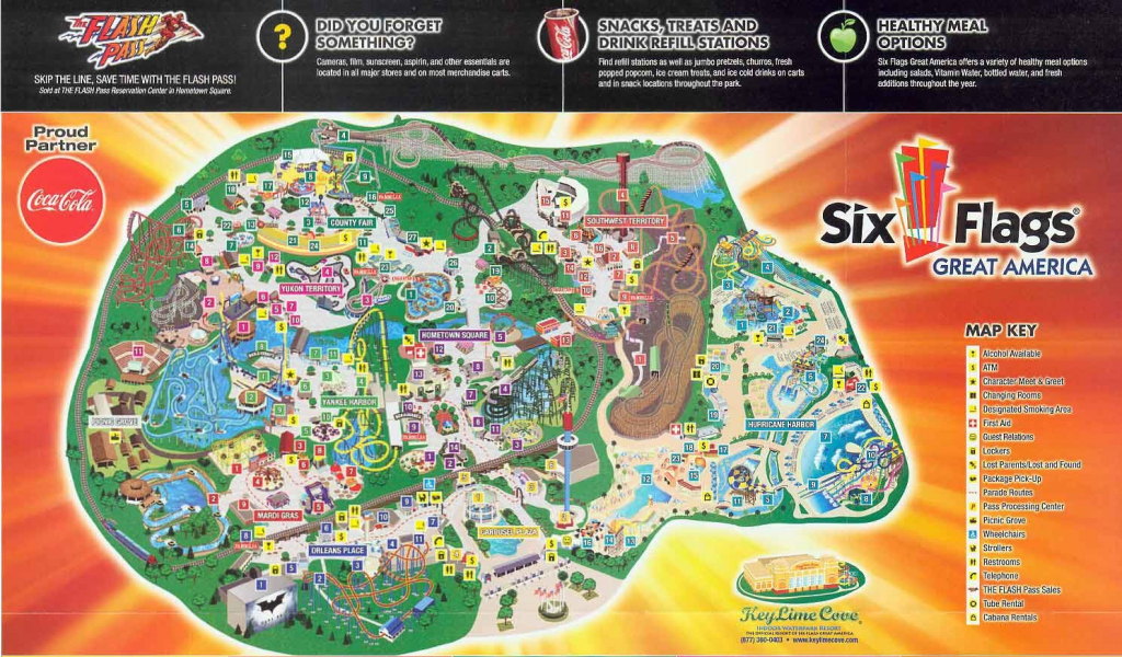 Six Flags Great America Map - World Wide Maps intended for Six Flags Great America Printable Park Map