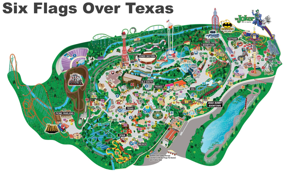 Six Flags Over Texas Map within Printable Six Flags Over Georgia Map