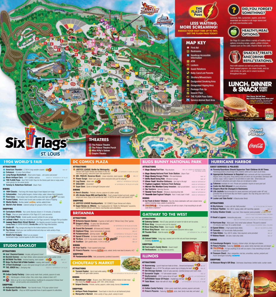 Six Flags St. Louis Park Map intended for Printable Six Flags Over Georgia Map