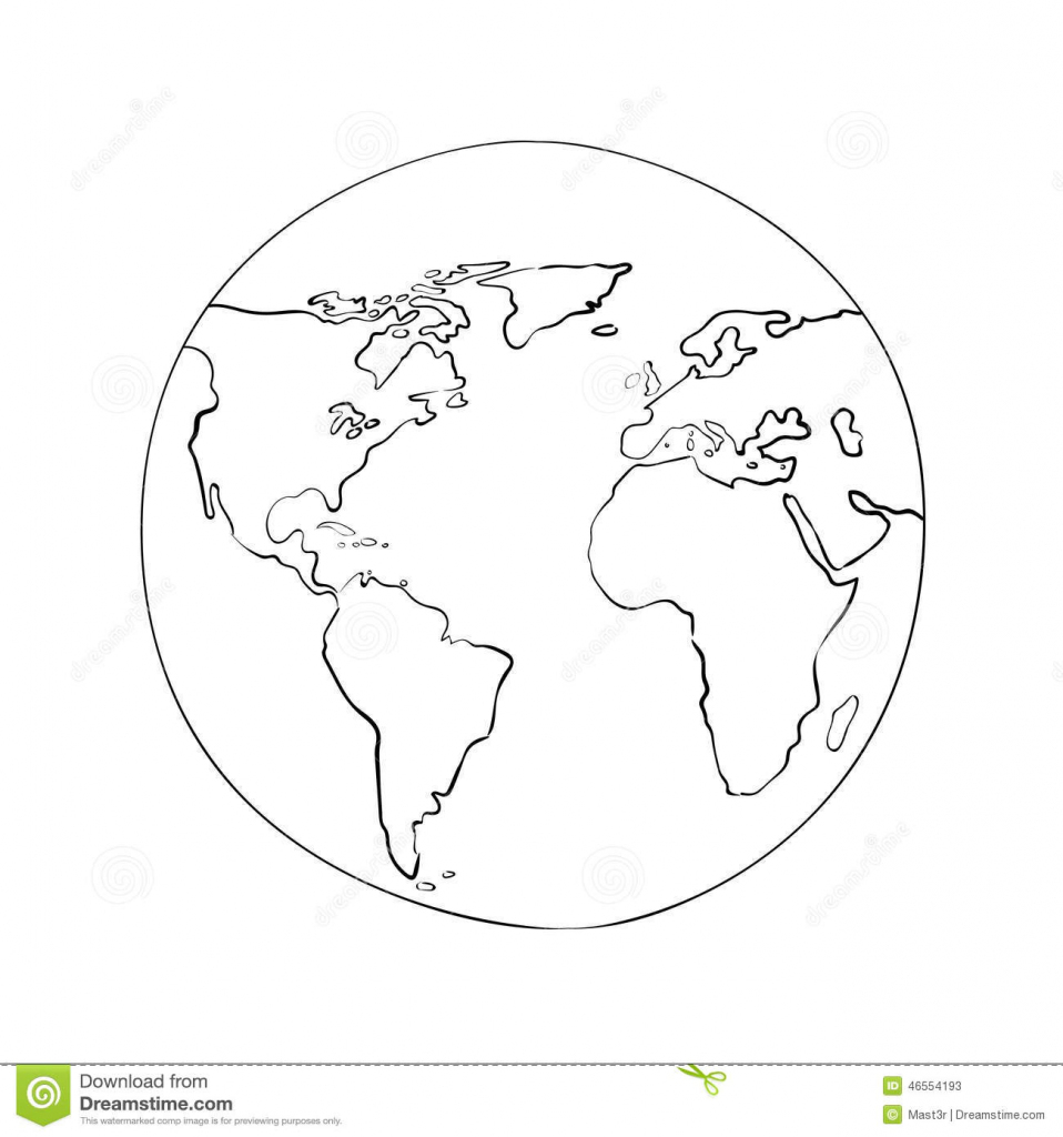 Sketch Globe World Map Black Vector Illustration Stock Vector regarding Round World Map Printable