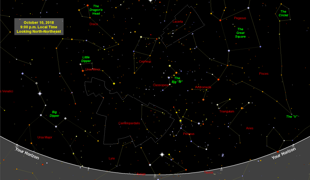 Sky Map (Star Chart): October 2018 | Old Farmer's Almanac within Printable Star Map