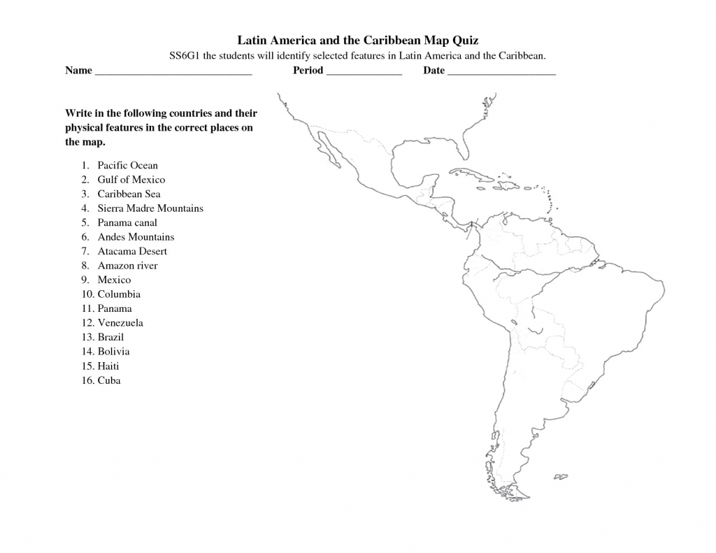 South America Free Maps Blank Outline And Central Map Quiz Zarzosa for Central America Map Quiz Printable