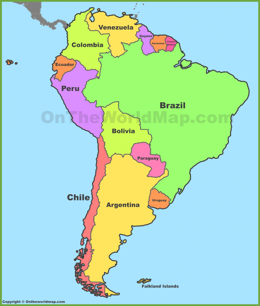 South America Maps | Maps Of South America - Ontheworldmap pertaining to Printable Map Of South America