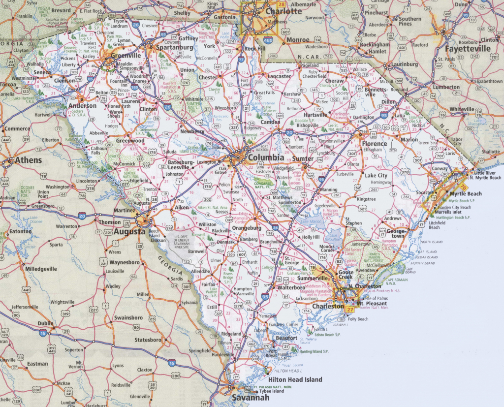 South Carolina Road Map with Printable Map Of South Carolina