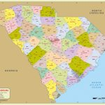 South Carolina Zip Code Map With Counties (48″ W X 38″ H For South Carolina County Map Printable