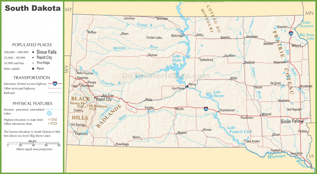South Dakota Highway Map in Printable Map Of South Dakota