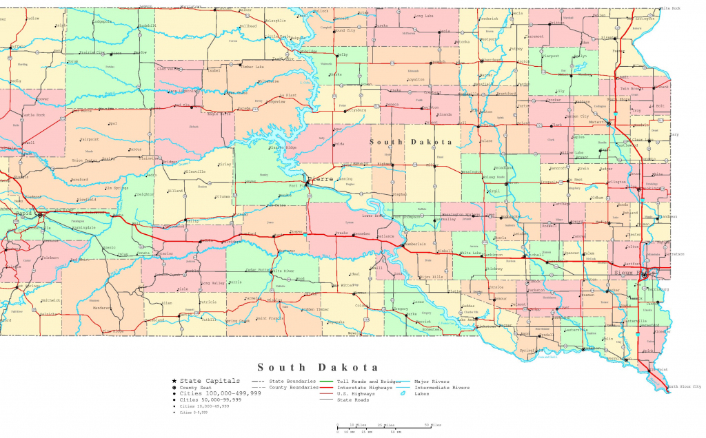 South Dakota Printable Map with Printable Map Of South Dakota