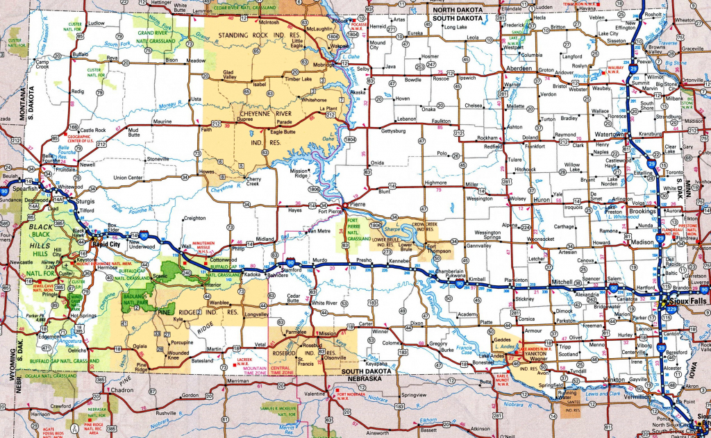 South Dakota Road Map throughout Printable Map Of South Dakota