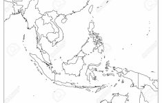 South East Asia Political Map. Black Outline On White Background regarding Printable Blank Map Of Southeast Asia