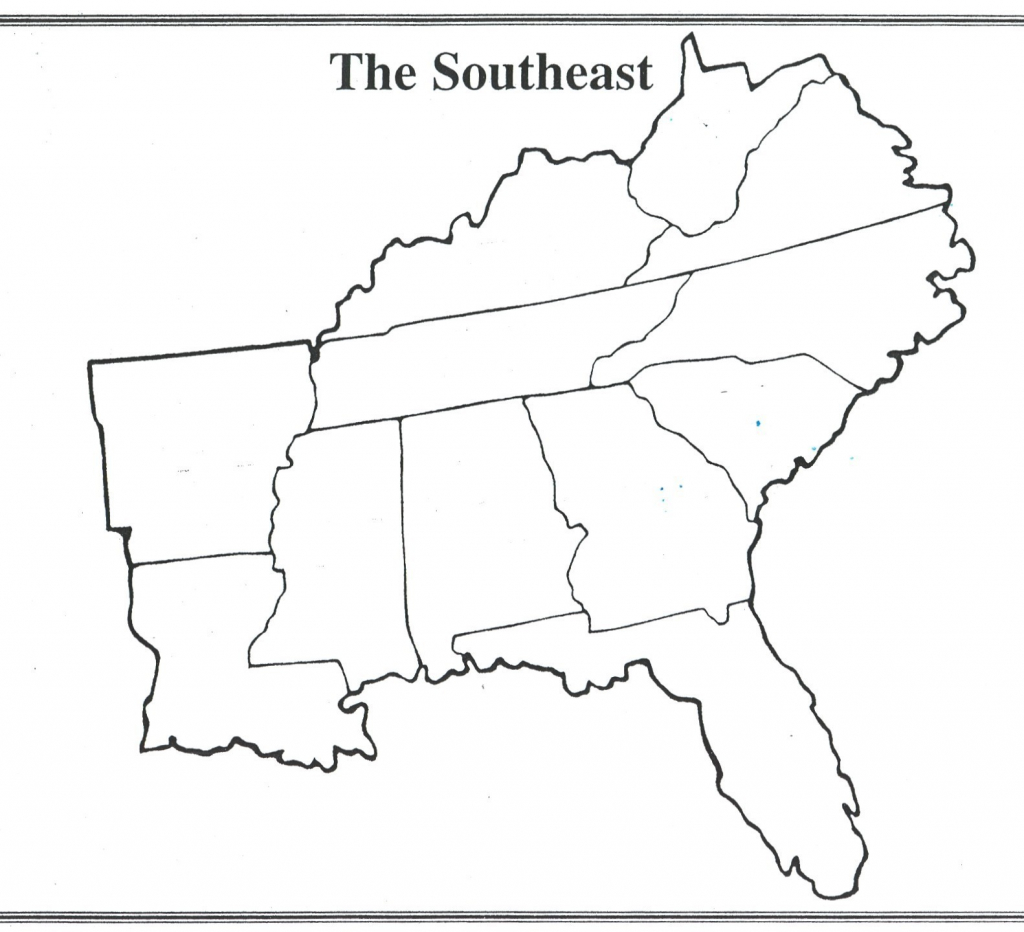 Southern Region Us States Map Us Region Map Quiz New Southeast Us inside Printable Map Of Southeast Us