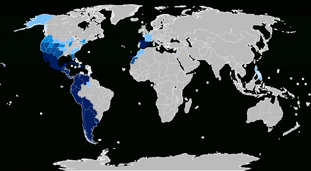 Spanish Language - Wikipedia regarding Printable Map Of Spanish Speaking Countries