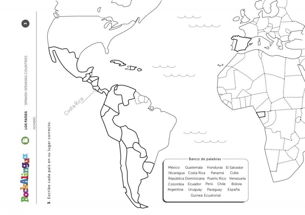 Spanish Speaking Countries | Worksheet | Rockalingua intended for Printable Map Of Spanish Speaking Countries