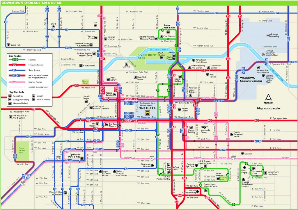 Spokane Downtown Transport Map throughout Downtown Spokane Map Printable