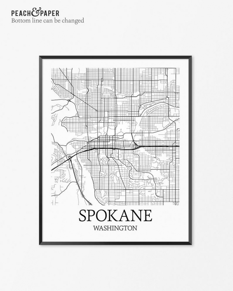 Spokane Map Art Print Spokane Poster Map Of Spokane Decor | Etsy with regard to Plot Map Printable