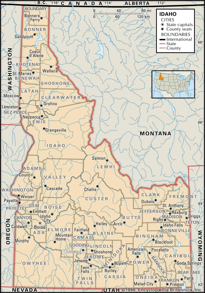 State And County Maps Of Idaho in Washington State Counties Map Printable