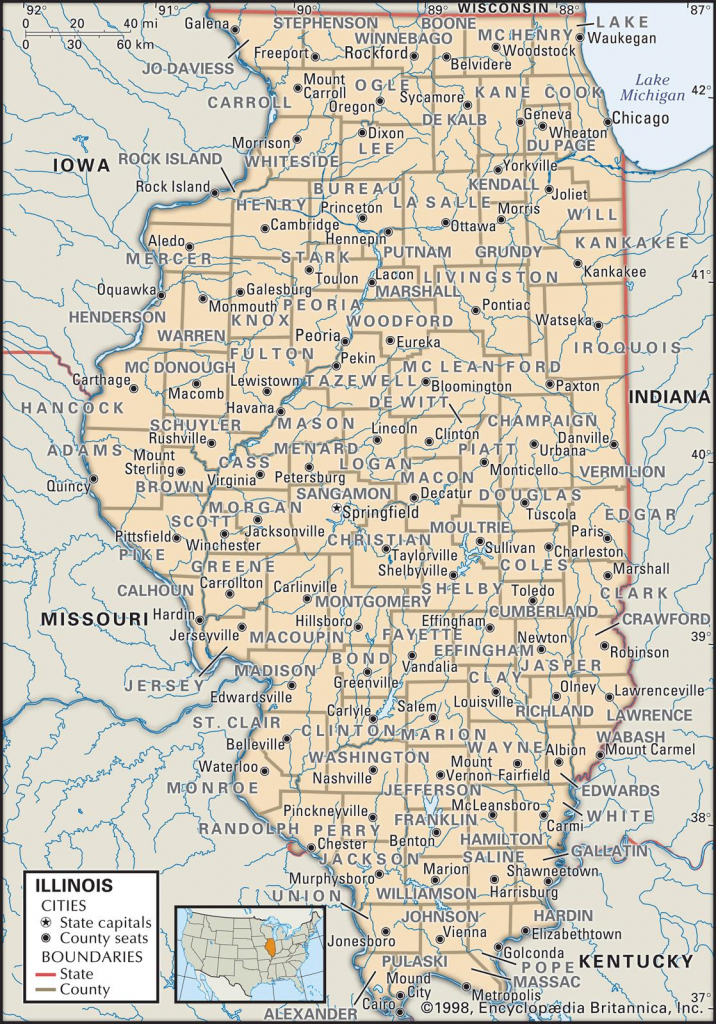 State And County Maps Of Illinois for Printable Map Of Illinois