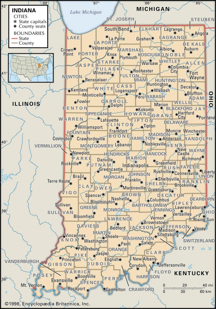 State And County Maps Of Indiana pertaining to Printable Map Of Indiana