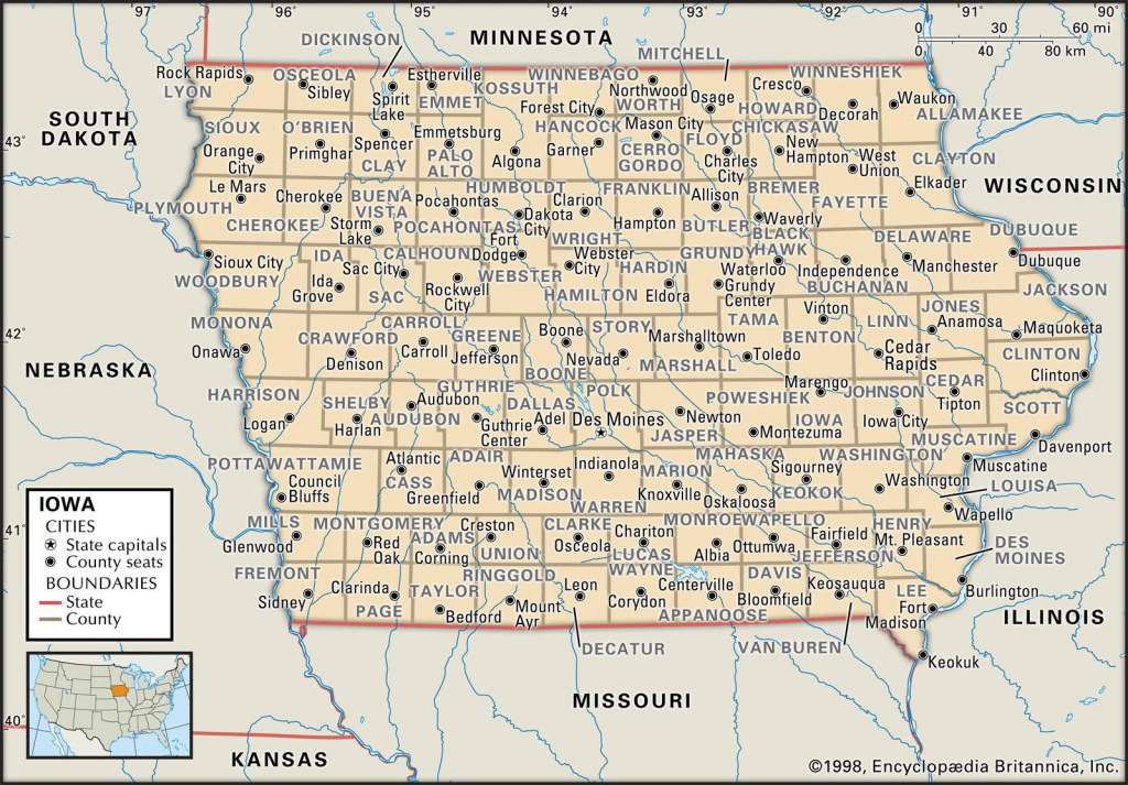 State And County Maps Of Iowa for Printable Iowa Road Map