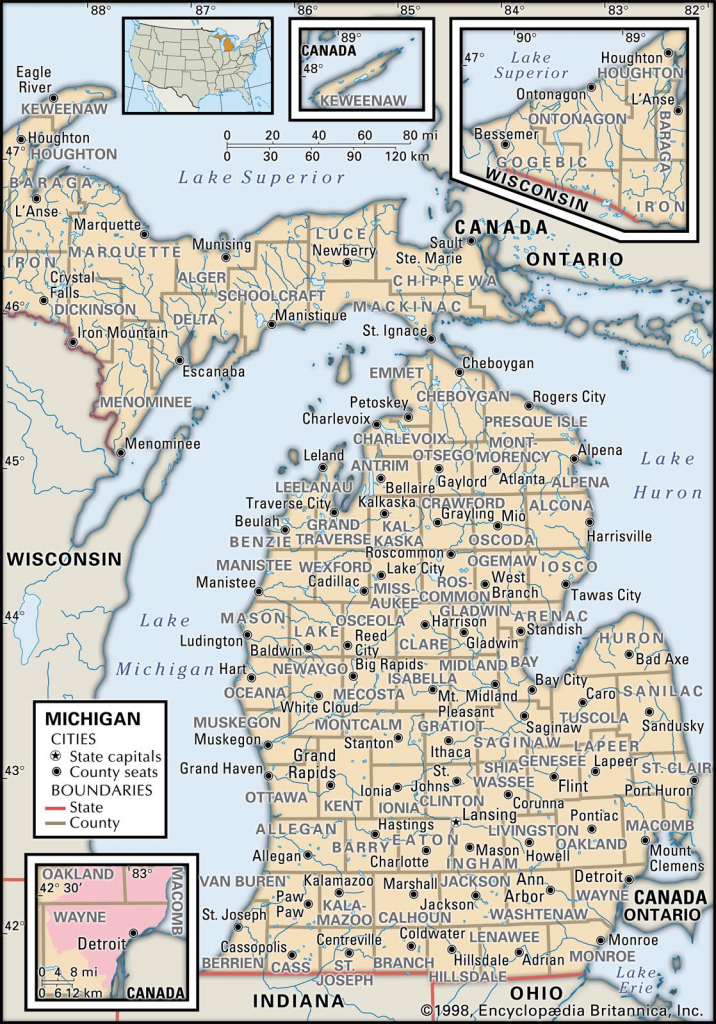 State And County Maps Of Michigan in Printable Map Of Michigan