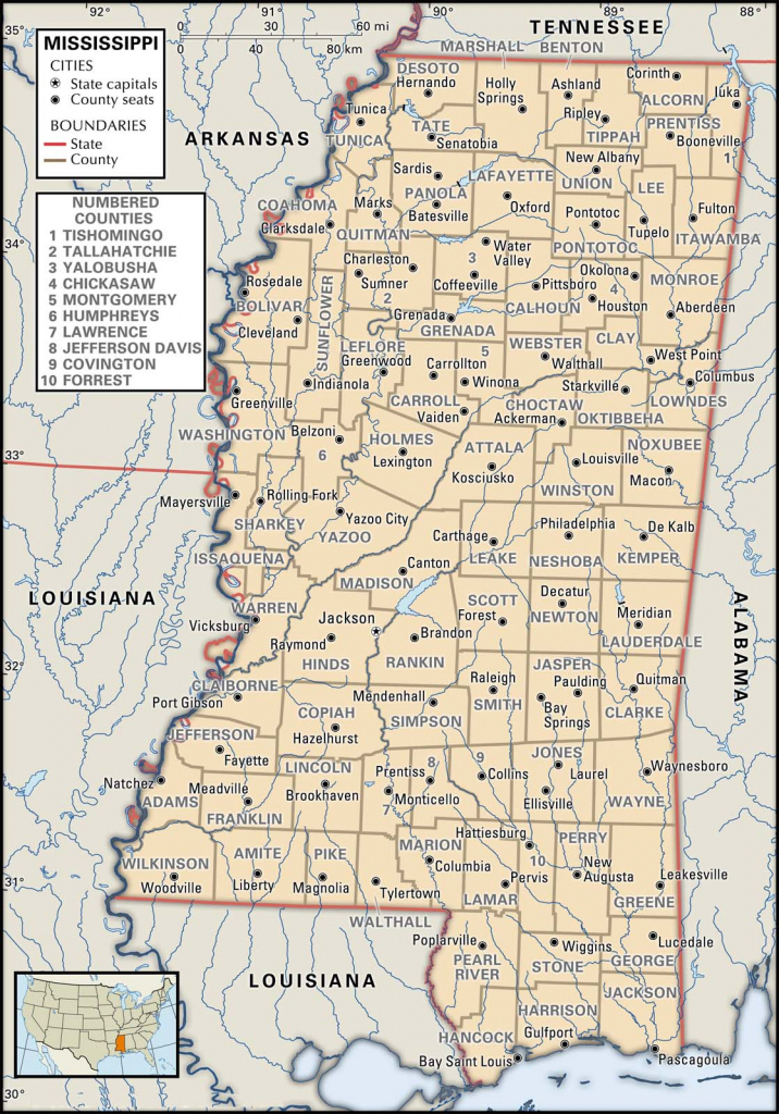 State And County Maps Of Mississippi throughout Printable Map Of Mississippi