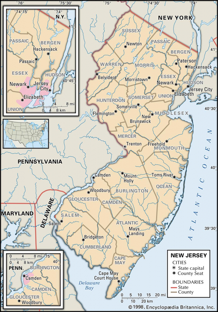 State And County Maps Of New Jersey pertaining to Printable Map Of Monmouth County Nj