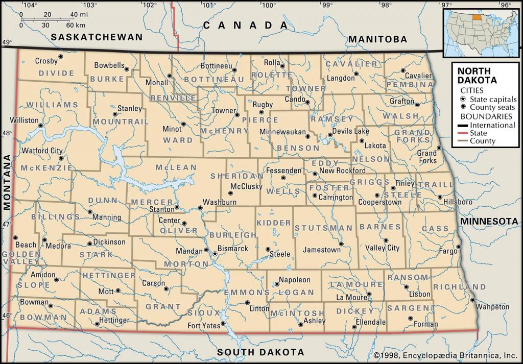 State And County Maps Of North Dakota in Printable Map Of North Dakota