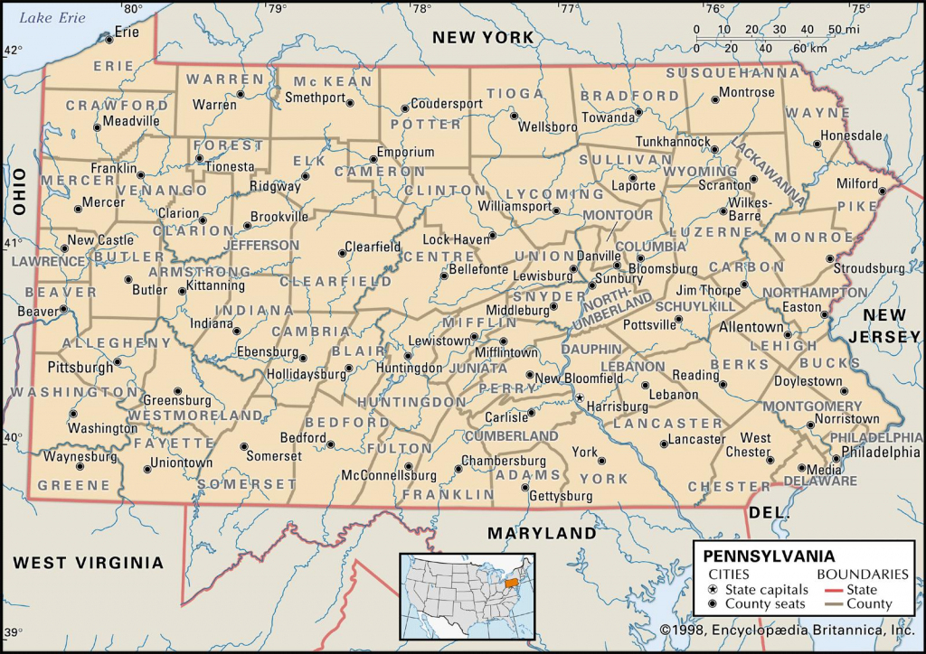 State And County Maps Of Pennsylvania within Printable Map Of Pennsylvania