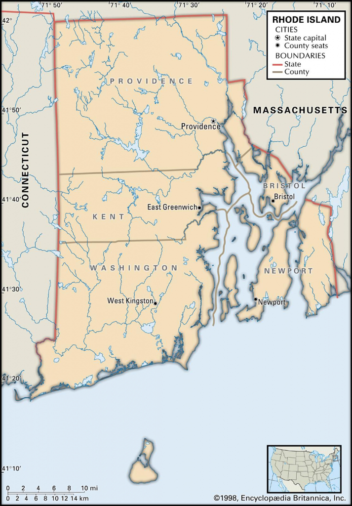 State And County Maps Of Rhode Island pertaining to Printable Map Of Rhode Island