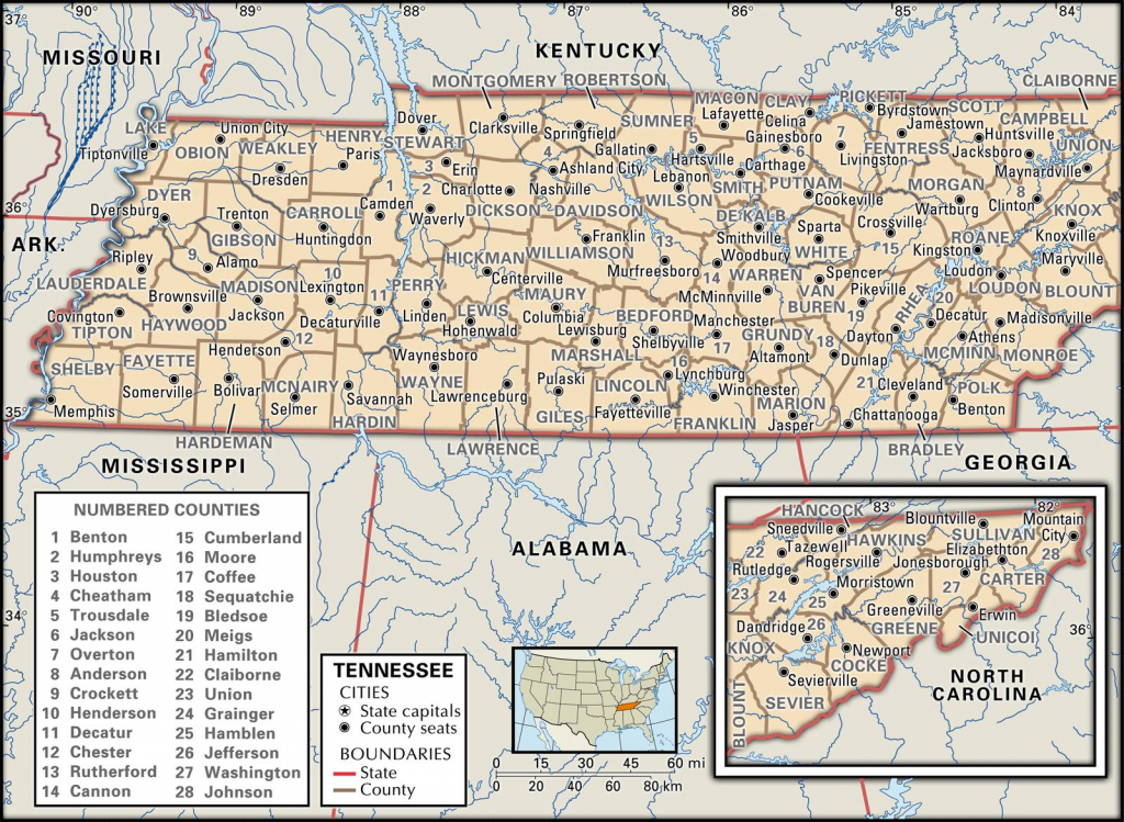 State And County Maps Of Tennessee with regard to Printable Map Of Tennessee Counties