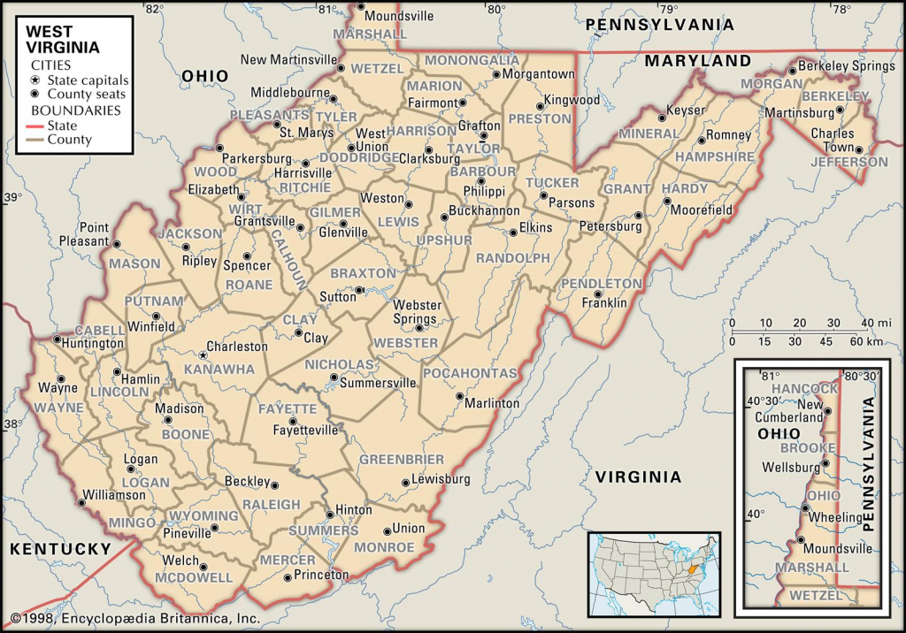 State And County Maps Of West Virginia with regard to Printable Map Of West Virginia