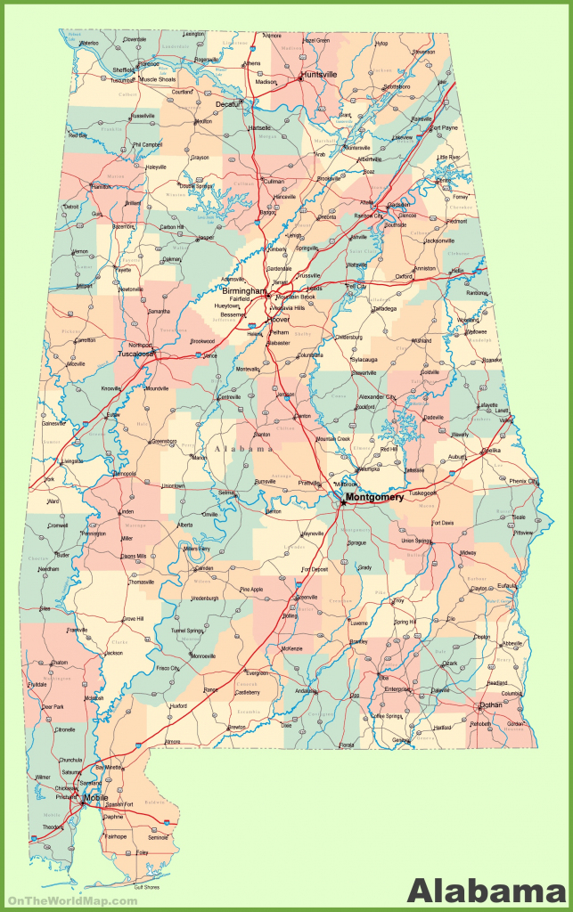 State Map Of Alabama And Travel Information | Download Free State in Alabama State Map Printable