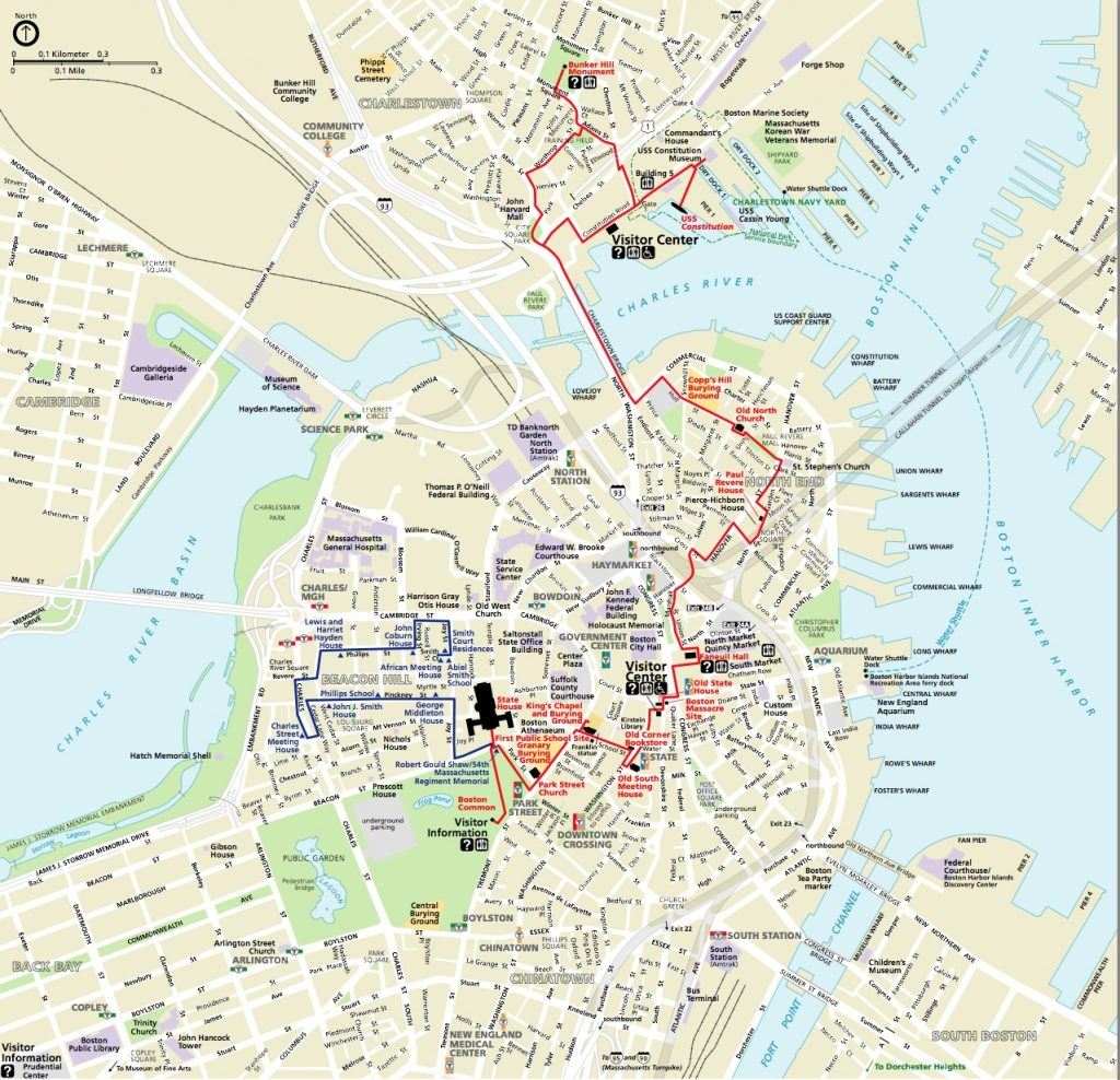 States Map With Cities. Boston Freedom Trail Map - States Map With with regard to Freedom Trail Map Printable
