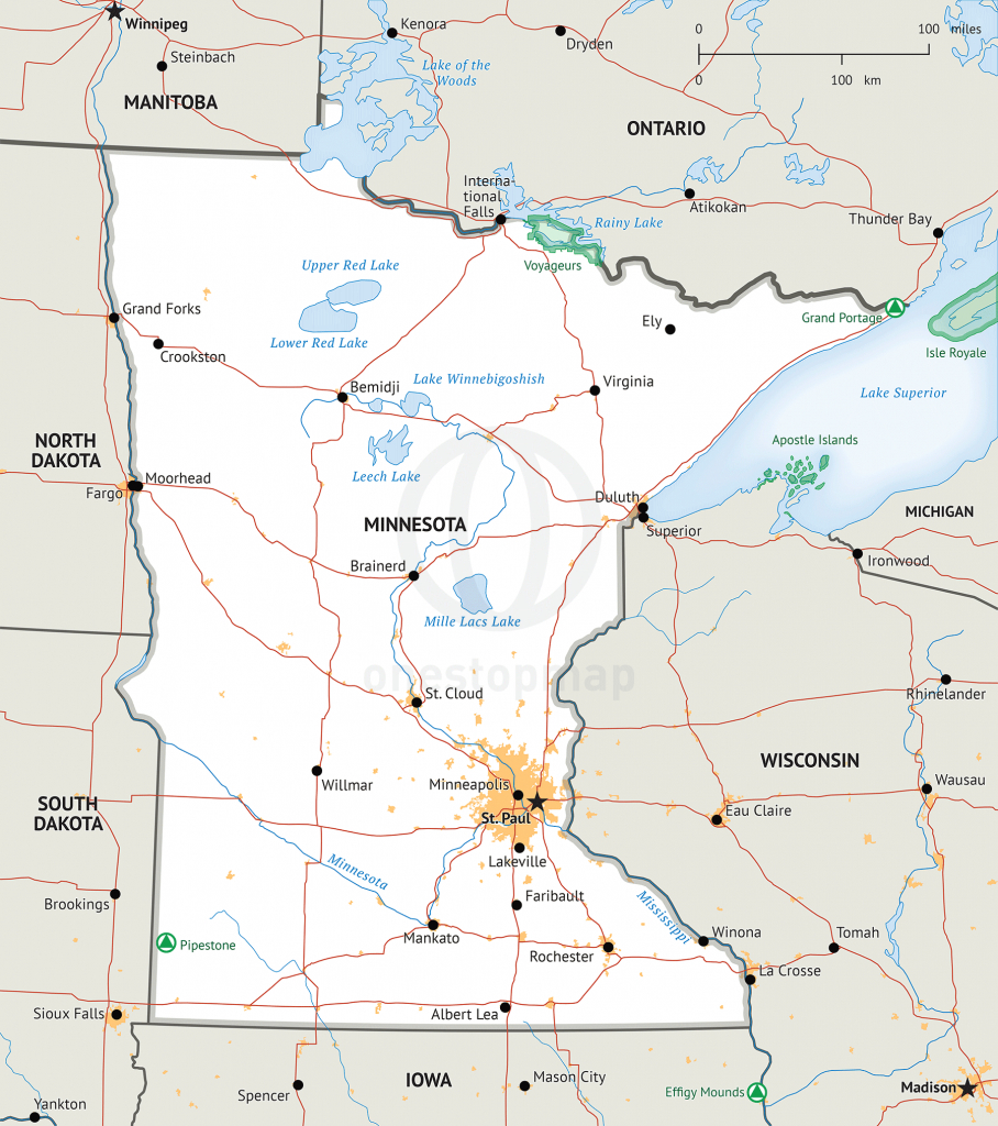 Stock Vector Map Of Minnesota   One Stop Map inside Printable Map Of Minnesota