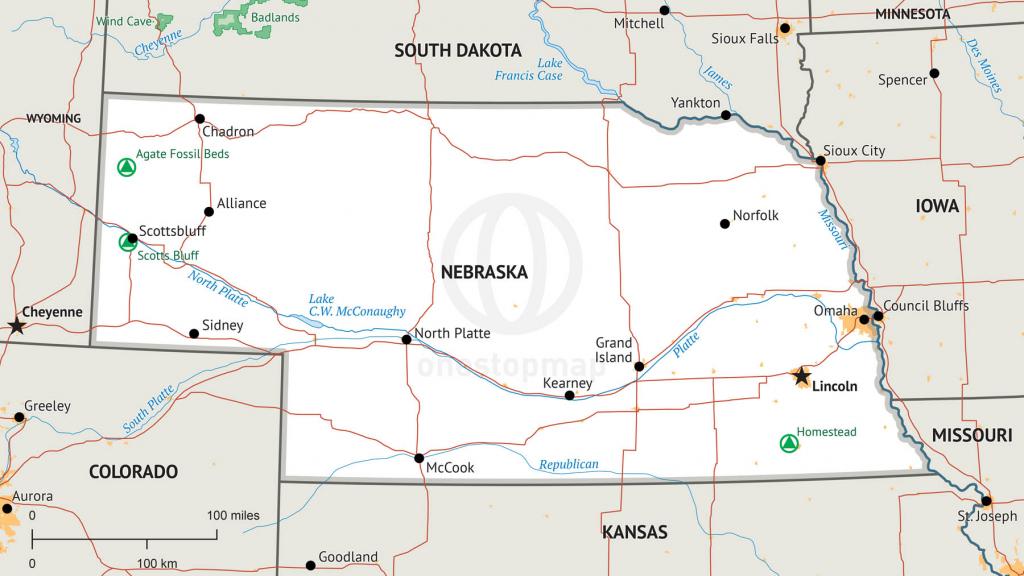 Stock Vector Map Of Nebraska | One Stop Map inside Printable Map Of Nebraska