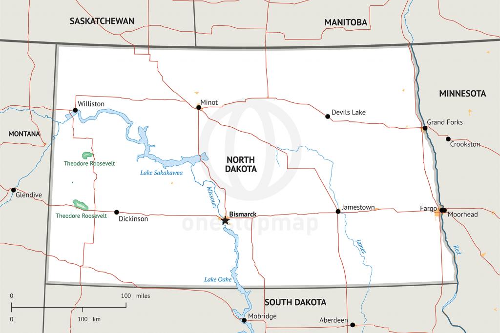 Stock Vector Map Of North Dakota | One Stop Map throughout Printable Map Of North Dakota