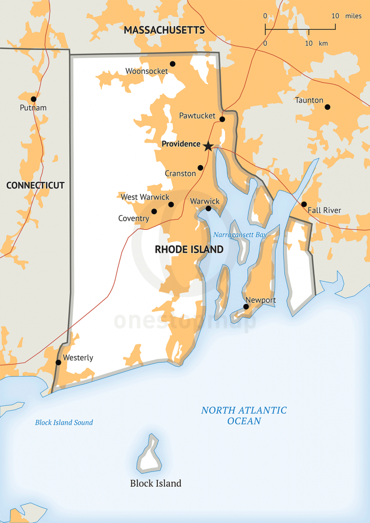 Stock Vector Map Of Rhode Island | One Stop Map throughout Printable Map Of Rhode Island