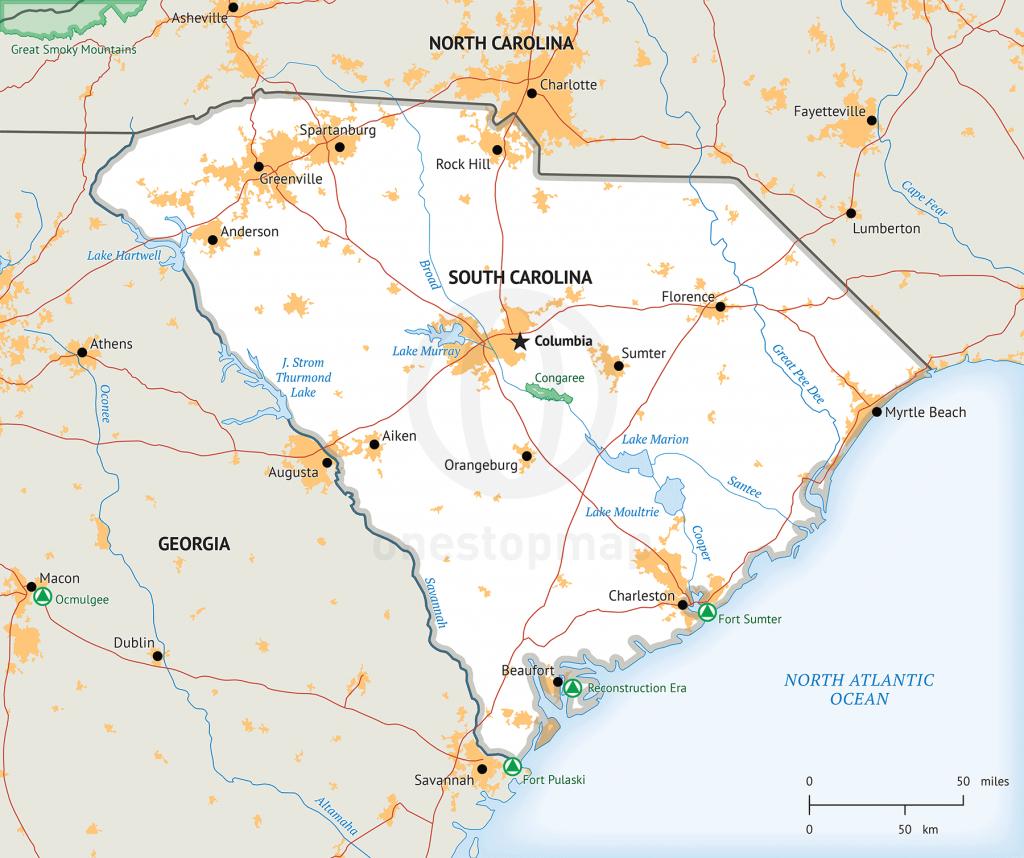 Stock Vector Map Of South Carolina | One Stop Map in Printable Map Of South Carolina