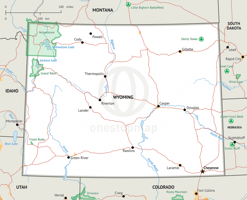 Stock Vector Map Of Wyoming | One Stop Map inside Wyoming State Map Printable