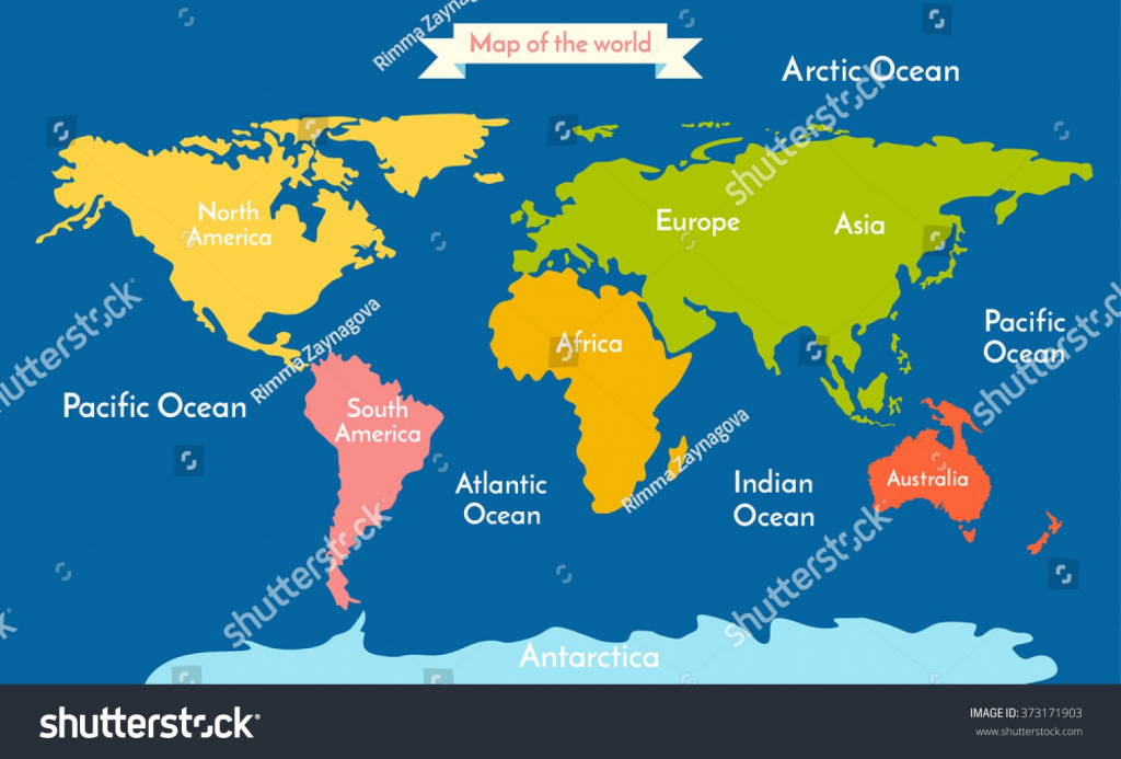 Stock Vector World Map Illustration With The Inscription Of Oceans inside Printable World Map With Continents And Oceans Labeled