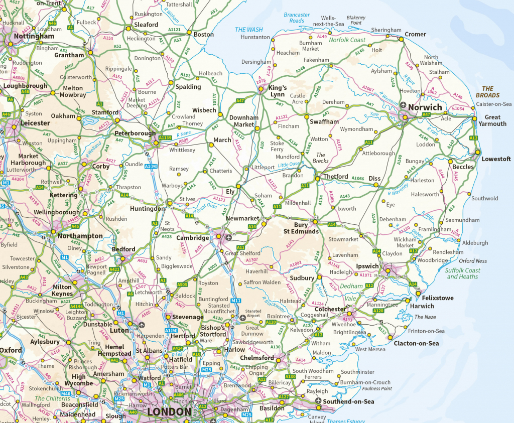 Suffolk Maps for Printable Map Of East Anglia