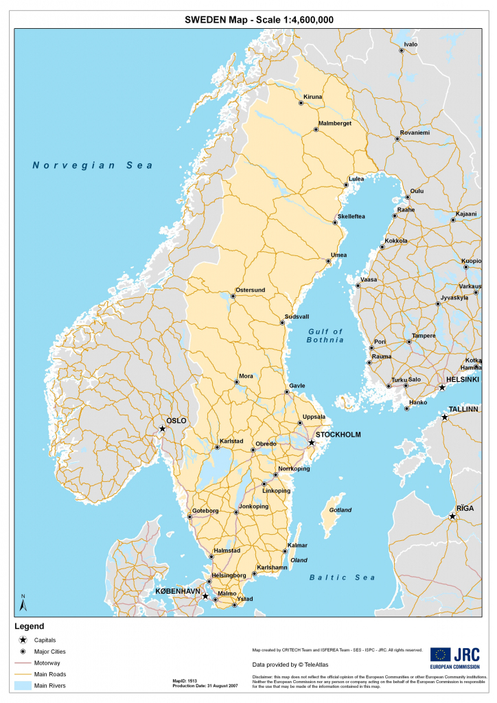Sweden Maps | Printable Maps Of Sweden For Download regarding Printable Map Of Sweden