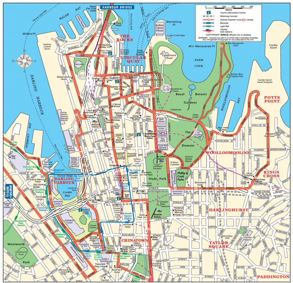 Sydney City Map - Map Of Sydney City (Australia) inside Sydney City Map Printable