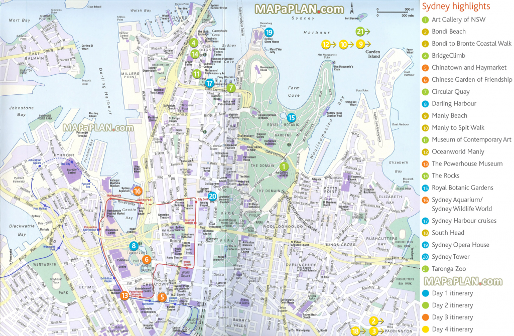 Sydney Maps - Top Tourist Attractions - Free, Printable City Street Map in Printable Map Of Sydney Suburbs