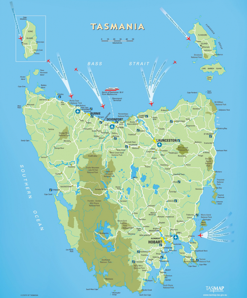 Tasmania Maps | Australia | Maps Of Tasmania (Tas) within Printable Map Of Tasmania