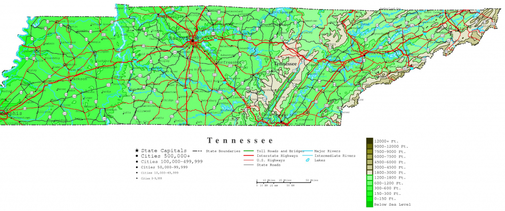 Tennessee Contour Map inside Printable Map Of Tennessee With Cities