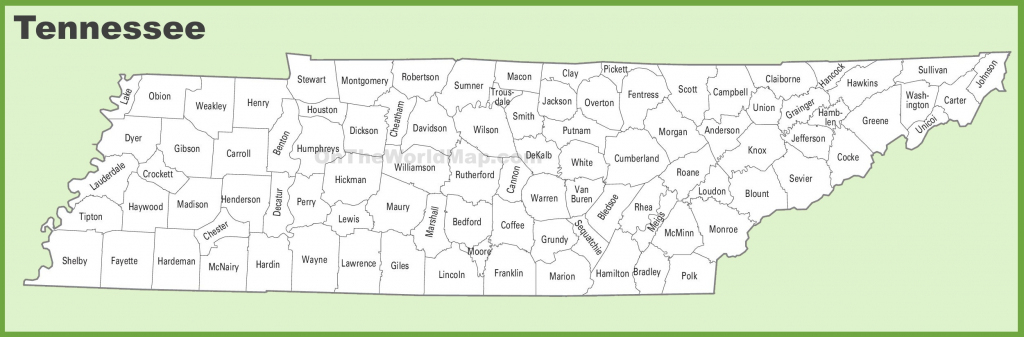 Tennessee County Map with Printable Map Of Tennessee Counties